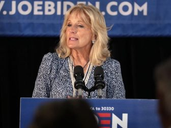 Former Second Lady of the United States Jill Biden speaking with supporters of former Vice President Joe Biden at a community event at the Best Western Regency Inn in Marshalltown, Iowa.