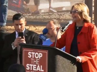 "Kelli Ward speaks at a ""Stop the Steal"" rally in Arizona."