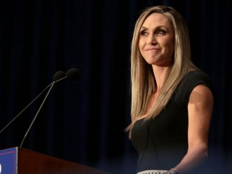 "Lara Trump speaking with supporters at a ""Make America Great Again"" campaign rally at the Scottsdale Plaza Resort in Paradise Valley, Arizona."