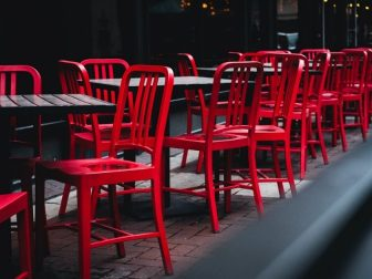 Empty outdoor seating in downtown Indianapolis during the quarantine.