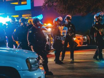 After the Donald Trump Rally in Phoenix, protestors classed with the police. Tear gas flew both ways.. and eventually the police dispersed the peaceful protestors.