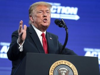 "President of the United States Donald Trump speaking with supporters at an ""An Address to Young Americans"" event hosted by Students for Trump and Turning Point Action at Dream City Church in Phoenix, Arizona."