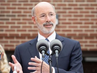 Pennsylvania Governor Tom Wolf speaking with the press outside of the York County YMCA. Governor Tom Wolf, Lieutenant Governor John Fetterman, Second Lady Gisele Fetterman and Secretary of Health Dr. Rachel Levine visited the York County YMCA to announce the findings of the Wolf Administration's COVID-19 Response Task Force for Health Disparity. The task force, created in April to investigate issues with how the pandemic is affecting the state's minority and vulnerable populations, has compiled recommendations for steps the commonwealth can take to reduce health disparities and work to dismantle systemic racism.