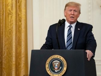 "President Donald J. Trump addresses remarks prior to presenting the Presidential Citizens Medal posthumously to Richard ""Rick"" C. Rescorla on Thursday, Nov. 7, 2019, in the East Room of the White House. Rescorla helped save the lives of nearly 2,700 people at the World Trade Center on the morning of September 11, 2001. (Official White House Photo by Tia Dufour)"