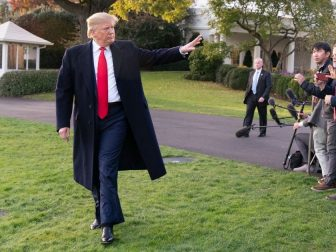 President Donald J. Trump waves after talking with reporters on the South Lawn of the White House Monday, Nov. 4, 2019, and walks to board Marine One to begin his trip to Kentucky. (Official White House Photo by Joyce N. Boghosian)