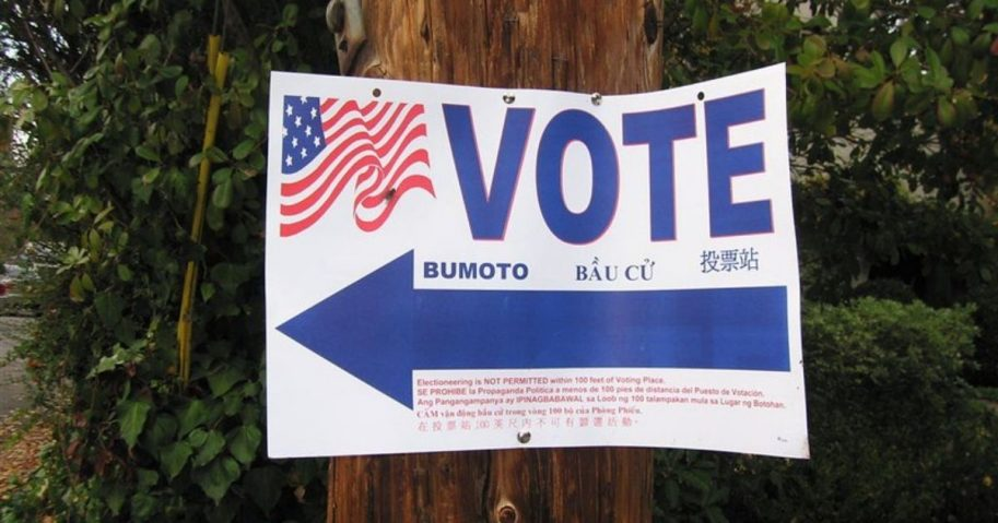"""A """"Vote"""" sign is seen above."""