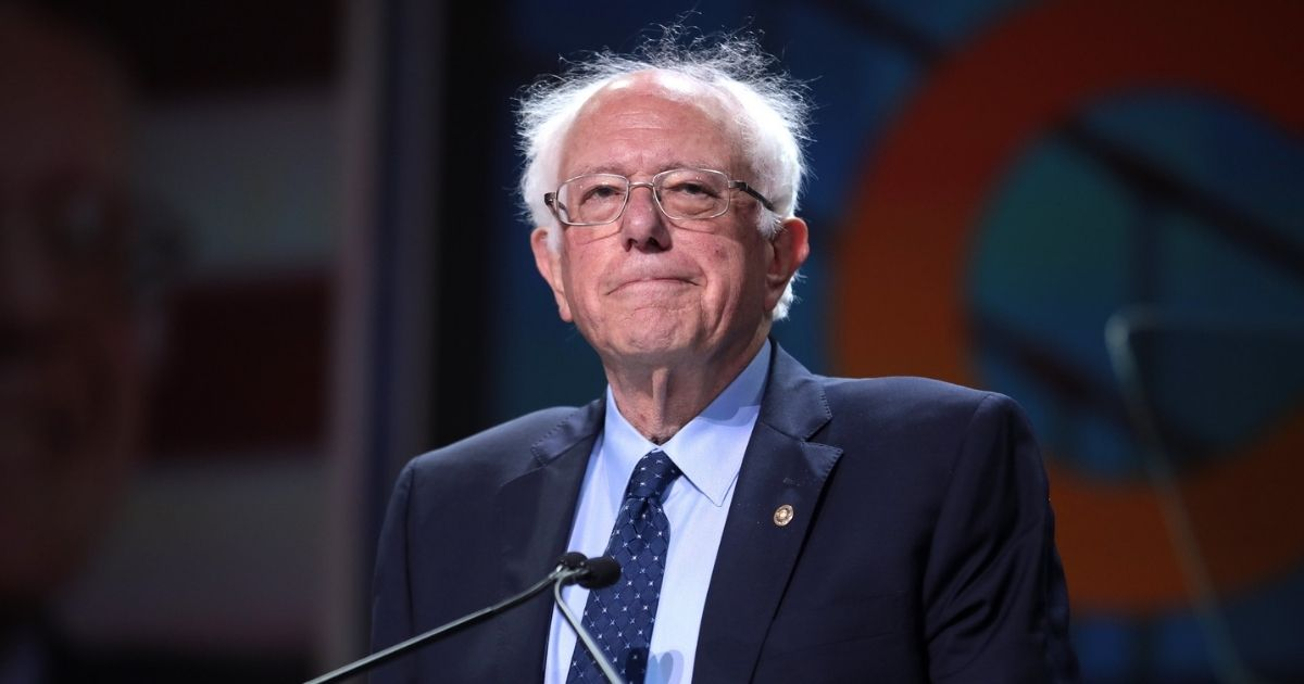 U.S. Senator Bernie Sanders speaking with attendees at the 2019 California Democratic Party State Convention at the George R. Moscone Convention Center in San Francisco, California.