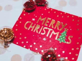 Close-up photo of a Christmas Card