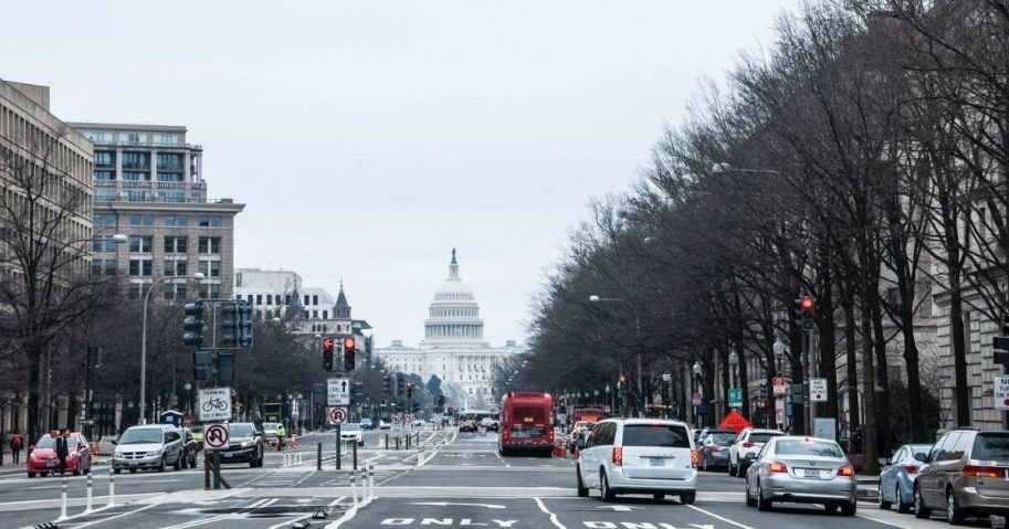 Street in Washington D.C. looking down to the Capitol Building