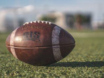 Brown Wilson Pigskin Football on a Field