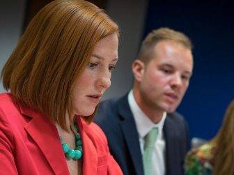 State Department Spokesperson Jen Psaki responds to your questions in a Twitter Q and A on U.S. foreign policy at the U.S. Department of State in Washington, D.C., on April 21, 2014. [State Department photo/ Public Domain]