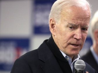 Former Vice President of the United States Joe Biden speaking with supporters at a phone bank at his presidential campaign office in Des Moines, Iowa.