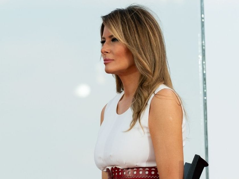 First Lady Melania Trump looks on as President Donald J. Trump delivers remarks during the 2020 Salute to America event Saturday, July 4, 2020, on the South Lawn of the White House. (Official White House Photo by Andrea Hanks)