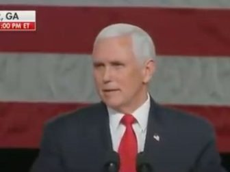 Vice President Mike Pence speaks at a Defend the Majority rally in Milner, Georgia, in support of Sens. Kelly Loeffler and David Perdue ahead of Tuesday's runoff elections
