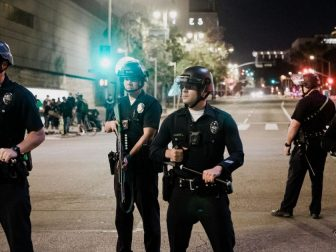 Police at a protest in Los Angeles, California