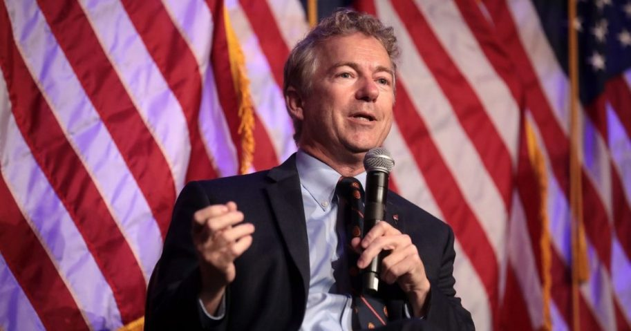 U.S. Senator Rand Paul speaking with attendees at the 2nd Annual Turning Point USA Winter Gala at the Mar-A-Lago Club in Palm Beach, Florida.