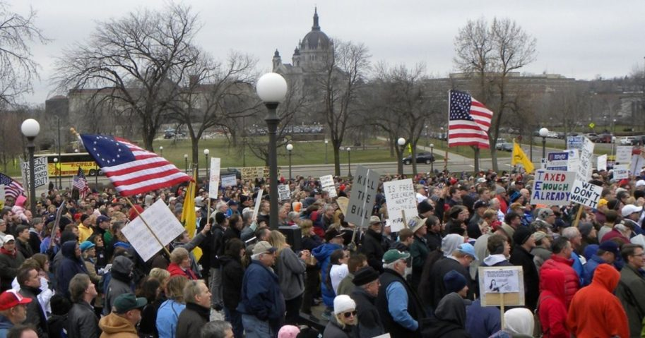 Tea party activists hold a rally on March 13, 2010, in St. Paul, Minnesota.