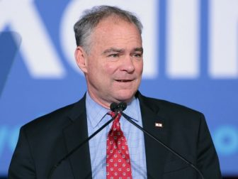 U.S. Senator Tim Kaine speaking with supporters at a campaign rally at the Maryvale Community Center in Phoenix, Arizona.