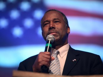 Ben Carson speaking with patrons at a Revive 714 church service at the Heritage Assembly of God in Des Moines, Iowa.