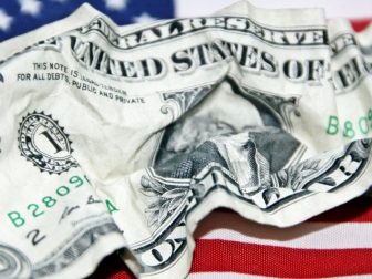 American Dollar Bill Crumpled