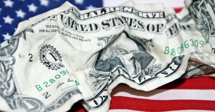 American Dollar Bill Crumpled