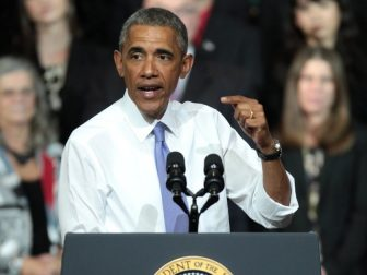 President of the United States Barack Obama speaking on the recovering housing sector at Central High School in Phoenix, Arizona.