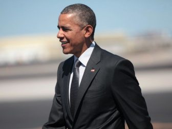President Barack Obama after arriving on Air Force One at Phoenix Sky Harbor Airport in Phoenix, Arizona.