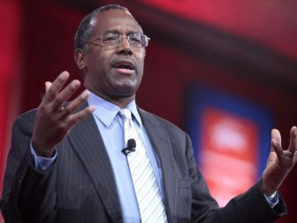 Ben Carson speaking at the 2015 Conservative Political Action Conference (CPAC) in National Harbor, Maryland.