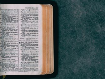 Open pocket bible on a green surface