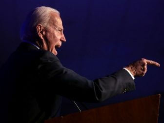 Former Vice President of the United States Joe Biden speaking with attendees at the Clark County Democratic Party's 2020 Kick Off to Caucus Gala at the Tropicana Las Vegas in Las Vegas, Nevada.