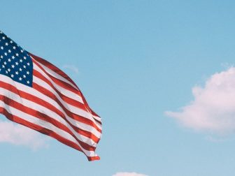 American flag flying on a pole