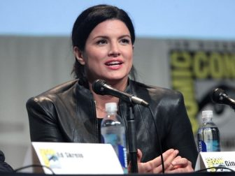 "Gina Carano speaking at the 2015 San Diego Comic Con International, for ""Deadpool"", at the San Diego Convention Center in San Diego, California."