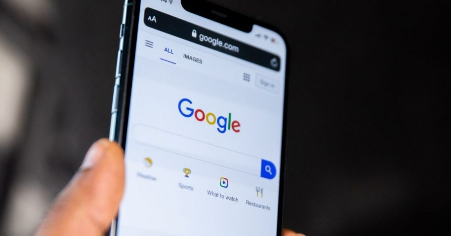 Google search home page on a mobile phone