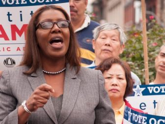 Letitia James speaking to a crowd of supporters
