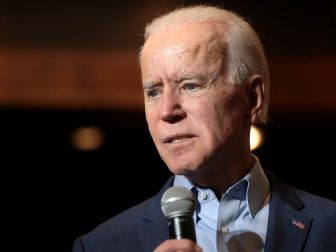 Former Vice President of the United States Joe Biden speaking with supporters at a community event at Sun City MacDonald Ranch in Henderson, Nevada.