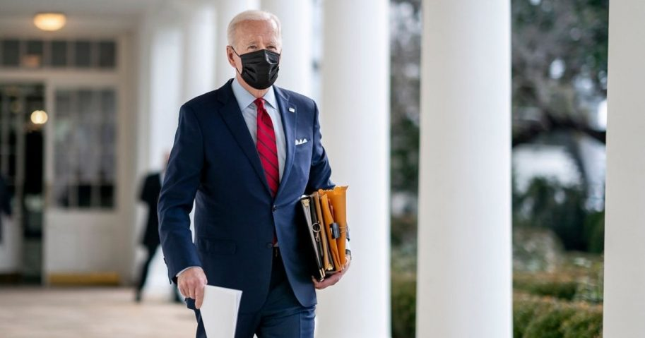 President Joe Biden walks along the Colonnade of the White House Thursday, Jan. 28, 2021, en route to the Oval Office. (Official White House Photo by Adam Schultz)
