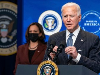 "President Joe Biden, joined by Vice President Kamala Harris, delivers remarks on his ""Buy American"" initiative Monday, Jan. 25, 2021, in the South Court Auditorium of the Eisenhower Executive Office Building at the White House. (Official White House Photo by Adam Schultz)"