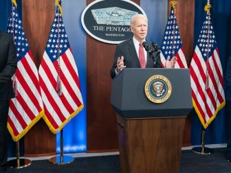 President Joe Biden, joined by Vice President Kamala Harris and Secretary of Defense Lloyd Austin, delivers remarks during a press conference Wednesday, Feb. 10, 2021, at the Pentagon in Arlington, Virginia. (Official White House Photo by Adam Schultz)