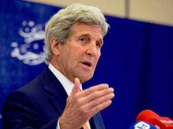 U.S. Secretary of State John Kerry addresses reporters during a joint news conference with Bahraini Foreign Minister Sheikh Khalid bin Ahmed al-Khalifa following a bilateral meeting on April 7, 2016, at the Four Seasons Hotel in Manama, Bahrain. [State Department photo/ Public Domain]