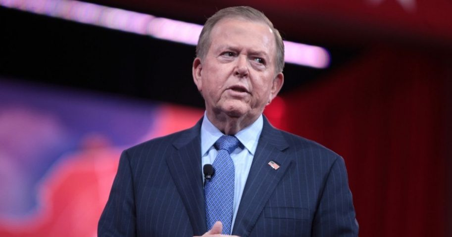 Lou Dobbs speaking at the 2015 Conservative Political Action Conference (CPAC) in National Harbor, Maryland.