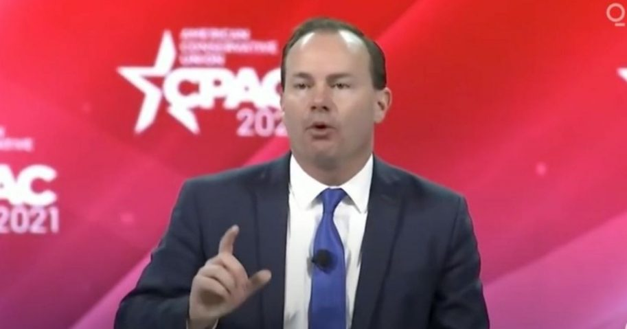 Republican Sen. Mike Lee of Utah delivers a speech Friday in defense of the Bill of Rights at the Conservative Political Action Conference 2021.