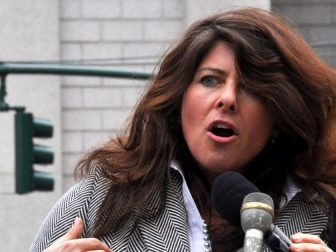 Naomi Wolf speaking at a press conference in New York's Foley Square on March 28, 2012 about the beginning of a lawsuit challenging the constitutionality of the NDAA.
