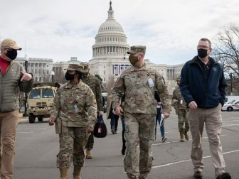Washington, D.C. (January 17, 2021) Acting Homeland Security Secretary Pete Gaynor and Acting Secretary of Defense Christopher Miller tour the U.S. Capitol building and interact with National Guard Soldiers assigned to ensure security ahead of the Presidential Inauguration.