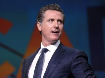 Governor Gavin Newsom speaking with attendees at the 2019 California Democratic Party State Convention at the George R. Moscone Convention Center in San Francisco, California.
