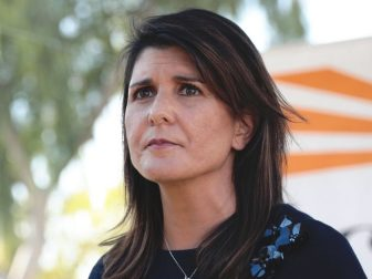 Former United Nations Ambassador Nikki Haley speaking with the media after a campaign event with U.S. Senator Martha McSally at a home in Scottsdale, Arizona.