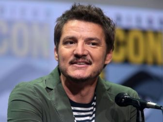 """Pedro Pascal speaking at the 2017 San Diego Comic Con International, for """"Kingsman: The Golden Circle"""", at the San Diego Convention Center in San Diego, California."""