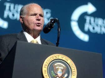Rush Limbaugh speaking with attendees at the 2019 Student Action Summit hosted by Turning Point USA at the Palm Beach County Convention Center in West Palm Beach, Florida.