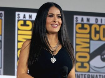 "Salma Hayek speaking at the 2019 San Diego Comic Con International, for ""The Eternals"", at the San Diego Convention Center in San Diego, California."