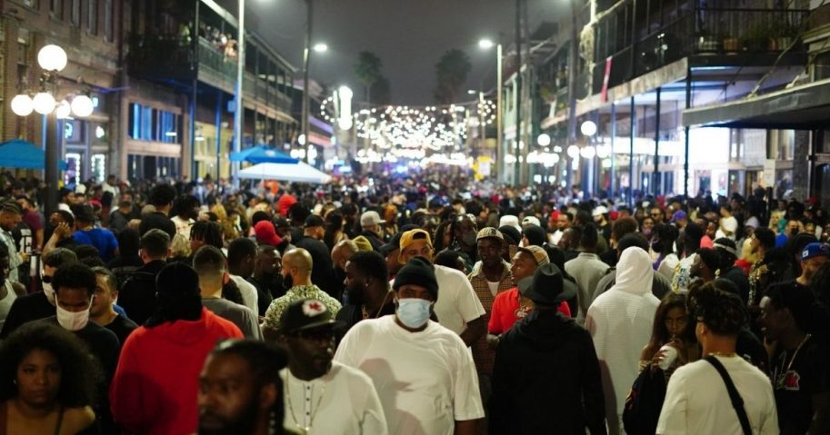 A crowd gathers after the Super Bowl LV in Tampa, Florida on Sunday.