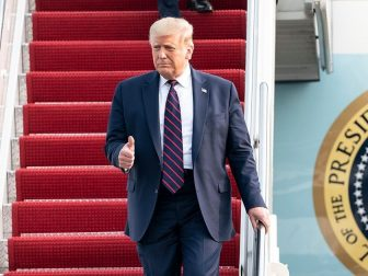 President Donald J. Trump waves and gives a thumbs-up as he disembarks Air Force One Tuesday, Sept. 15, 2020, at Philadelphia International Airport in Philadelphia. (Official White House Photo by Joyce N. Boghosian)